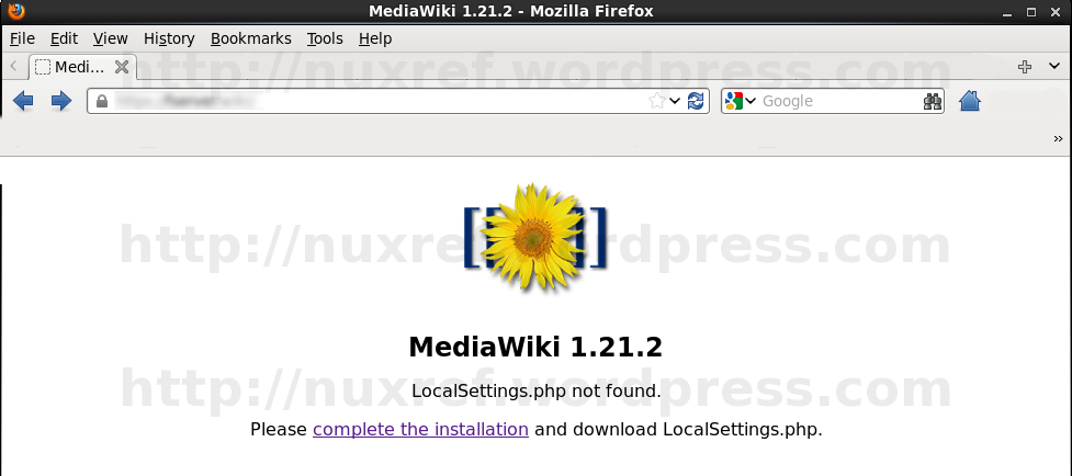 Here is what should be displayed to if you installed the mediawiki RPM and visit http://localhost/wiki